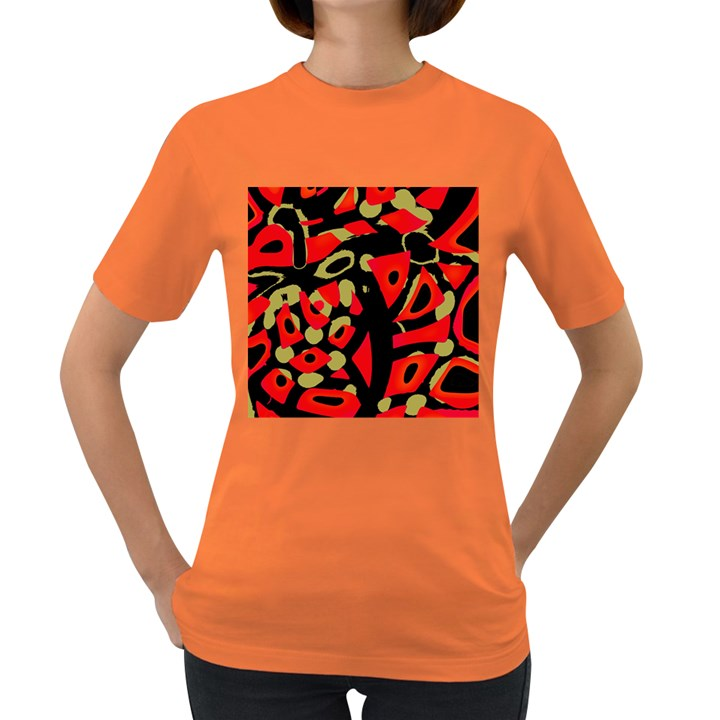 Red artistic design Women s Dark T-Shirt