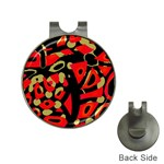 Red artistic design Hat Clips with Golf Markers Front