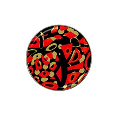 Red Artistic Design Hat Clip Ball Marker (4 Pack)