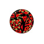 Red artistic design Hat Clip Ball Marker (4 pack) Front