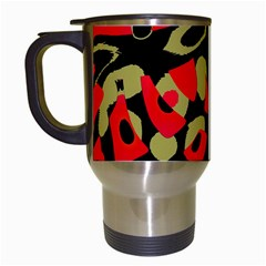 Red artistic design Travel Mugs (White)
