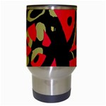 Red artistic design Travel Mugs (White) Center