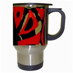Red artistic design Travel Mugs (White) Right