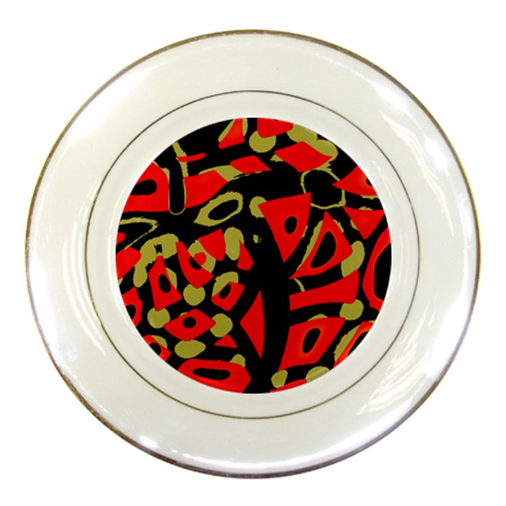 Red artistic design Porcelain Plates