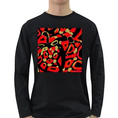 Red Artistic Design Long Sleeve Dark T Shirts