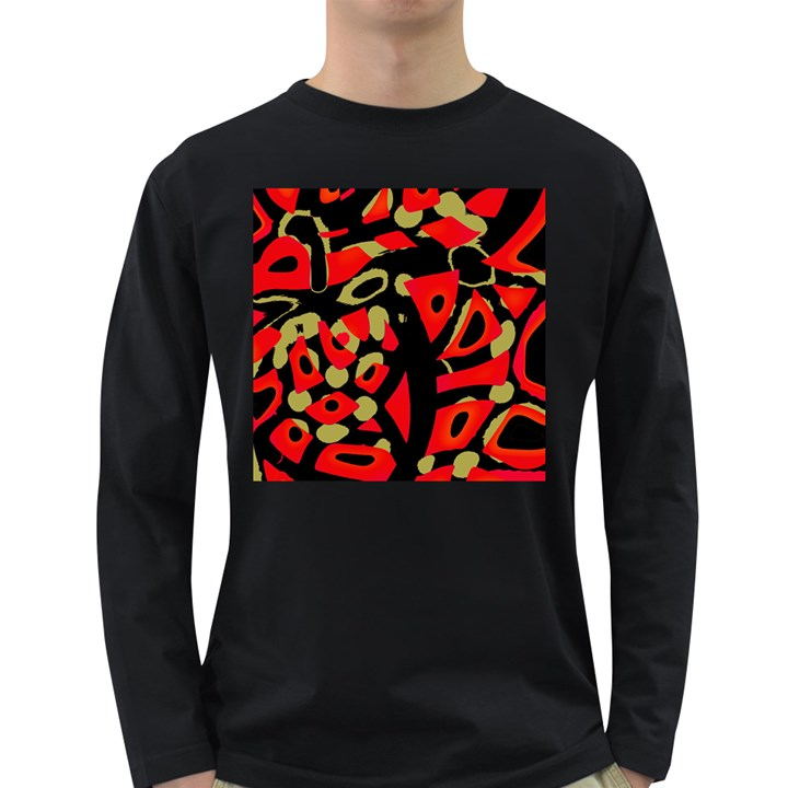 Red artistic design Long Sleeve Dark T-Shirts