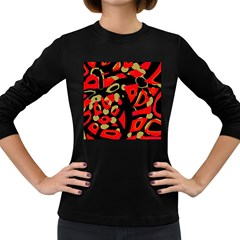 Red Artistic Design Women s Long Sleeve Dark T Shirts