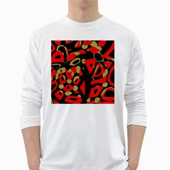 Red Artistic Design White Long Sleeve T Shirts