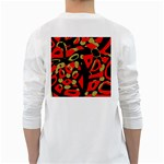 Red artistic design White Long Sleeve T-Shirts Back