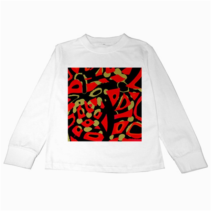 Red artistic design Kids Long Sleeve T-Shirts