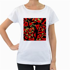 Red Artistic Design Women s Loose Fit T Shirt (white)
