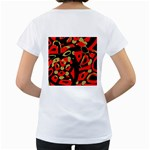 Red artistic design Women s Loose-Fit T-Shirt (White) Back