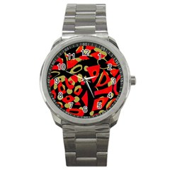 Red artistic design Sport Metal Watch