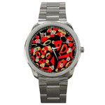 Red artistic design Sport Metal Watch Front