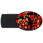 Red artistic design USB Flash Drive Oval (4 GB)  Front