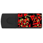 Red artistic design USB Flash Drive Rectangular (4 GB)  Front