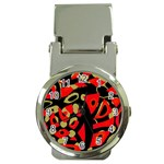 Red artistic design Money Clip Watches Front