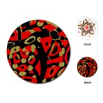 Red artistic design Playing Cards (Round)  Front