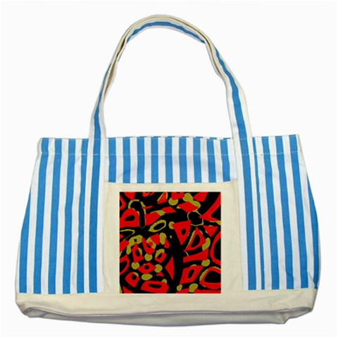 Red artistic design Striped Blue Tote Bag