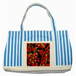 Red artistic design Striped Blue Tote Bag Front