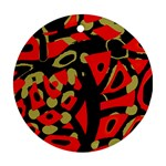 Red artistic design Round Ornament (Two Sides)  Back