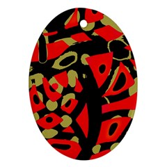Red Artistic Design Oval Ornament (two Sides)