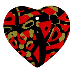 Red artistic design Heart Ornament (2 Sides)