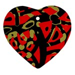 Red artistic design Heart Ornament (2 Sides) Back