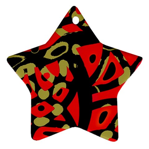 Red artistic design Star Ornament (Two Sides)