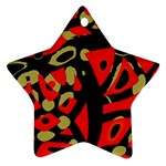 Red artistic design Star Ornament (Two Sides)  Back