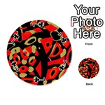 Red artistic design Playing Cards 54 (Round)  Front - Club7