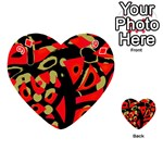 Red artistic design Playing Cards 54 (Heart)  Front - Diamond9