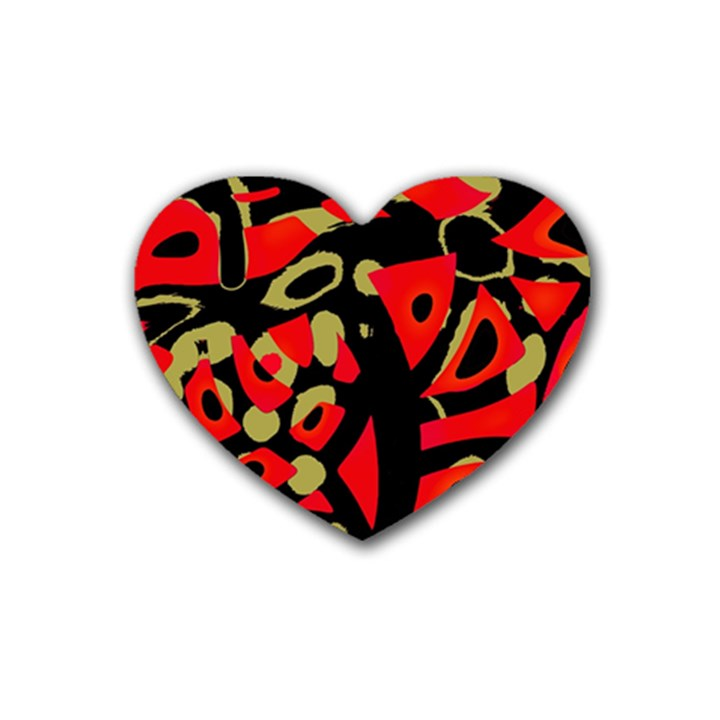 Red artistic design Rubber Coaster (Heart)