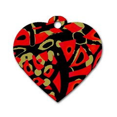 Red artistic design Dog Tag Heart (Two Sides)