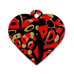Red artistic design Dog Tag Heart (Two Sides) Back