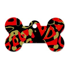 Red Artistic Design Dog Tag Bone (one Side)