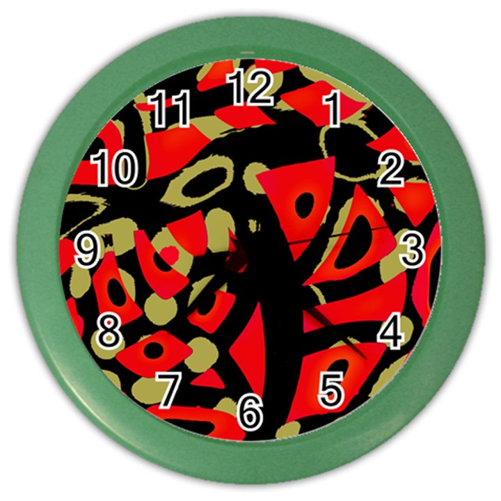 Red artistic design Color Wall Clocks