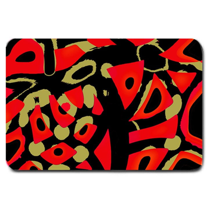 Red artistic design Large Doormat