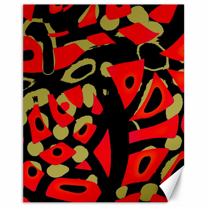 Red artistic design Canvas 11  x 14