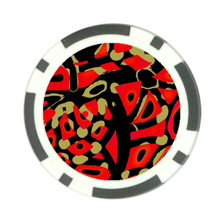 Red artistic design Poker Chip Card Guards