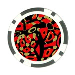 Red artistic design Poker Chip Card Guards Back