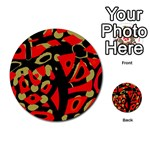Red artistic design Multi-purpose Cards (Round)  Back 15