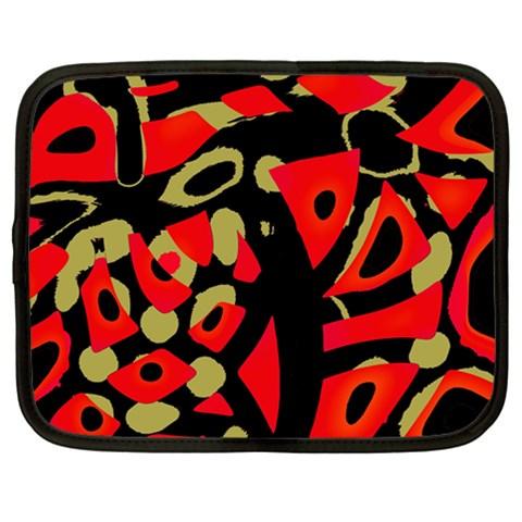 Red artistic design Netbook Case (Large)