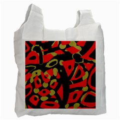 Red artistic design Recycle Bag (One Side)