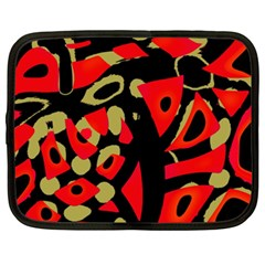 Red artistic design Netbook Case (XXL)