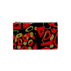Red Artistic Design Cosmetic Bag (small)