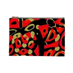 Red artistic design Cosmetic Bag (Large)  Front