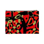 Red artistic design Cosmetic Bag (Large)  Back