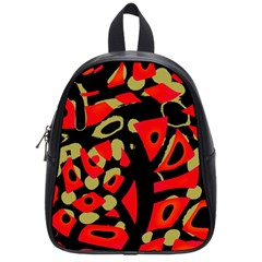 Red artistic design School Bags (Small)