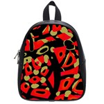 Red artistic design School Bags (Small)  Front